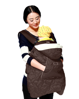 Harga Baby Carrier Cover Cotton Infant Hoodie Universal Carrier Cover for Baby Carrier Warm Cloak Windproof Baby Blanket-Perfect for Ergo (Brown) - intl