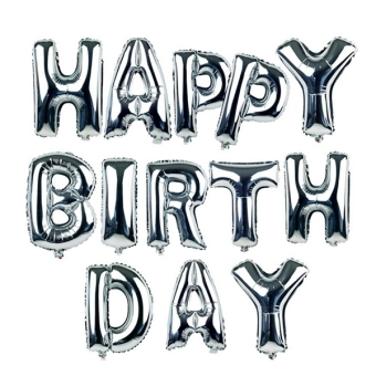 Harga 18inch Alphabet Letters Balloons Happy Birthday Party Decoration Aluminum Foil Membrane Ballon (Silver) - intl