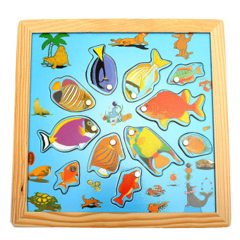 Magnetic Wooden Fishing Game Board Set Puzzle Developmental Angling Kids Toy