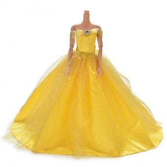 Harga Trailing Skirt Dress for Barbies Doll Kids Toy Doll Net Yarn Barbies Dress Yellow - intl
