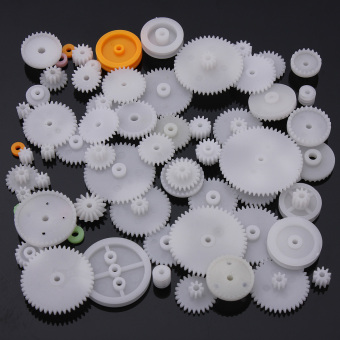 Harga 64pcs Type Plastic Shaft Single Double Reduction Crown Worm Gears DIY For Robot - intl