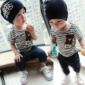 Harga 2016 New style children's clothing summer boys female baby boy clothes short-sleeved suit 0-1-2-3-4-year-old suit