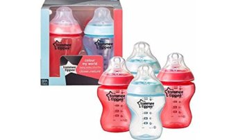 Harga Tommee Tippee 4 x Tommee Tippee Colour My World 260ml Bottles Red Blue - 70% Off