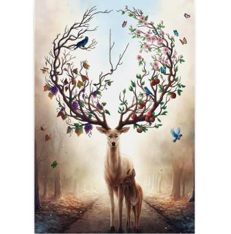 Harga [Yi Chen] adult 1000 piece wooden jigsaw puzzle 3000 puzzle toys entrance decorative painting in the forest of deer