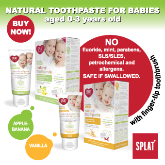 Harga SPLAT Natural Baby Toothpaste (with finger-tip toothbrush) 0-3 yrs (WITH XYLITOL, NO FLUORIDE) Twin pack