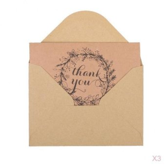 Harga MagiDeal 50pcs Vintage Brown Recycled Thank You Kraft Cards with Envelopes