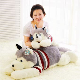 Harga Husky doll sled dog plush toy doll lying dog large doll pillow Valentine's Day gift