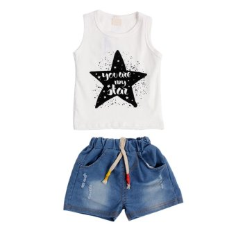 Harga Baby Boy Summer Sleeveless Vest Short Jean Clothing Set - intl