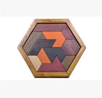 Harga A little wooden variety puzzle imposition Children's Educational Building Blocks triangle diamond puzzle jigsaw puzzle color clever Board