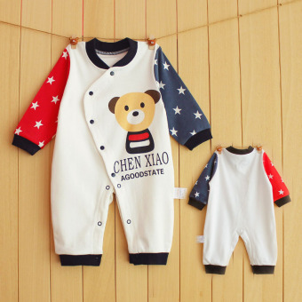 Newborn children baby coveralls Spring and Autumn infant children baby pajamas for men and women baby romper long-sleeved climbing clothes 0-1-year-old