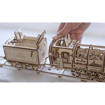 Harga UGears - 460 STEAM LOCOMOTIVE WITH TENDER 3D puzzle is a unique product of environmentally friendly wood - intl