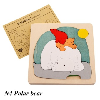 Harga Baby 2-3-4 Year Old Children Multi-layer Puzzle Early Education Puzzle Wooden 3D Cartoon Animal Stereo Puzzle(Polar bear) - intl