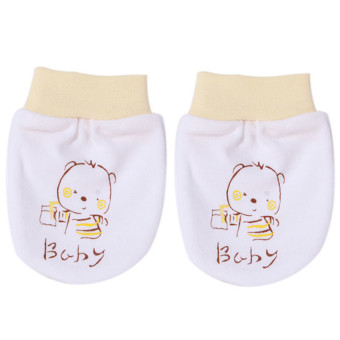Harga Hang-Qiao 1 Pair Cartoon Baby Gloves (White/Yellow)