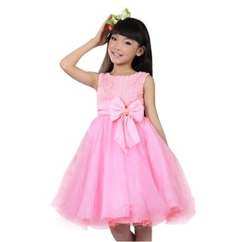 Harga Rorychen Baby Clothes Kids Girl Floral Party Dress with Rhinestone (Pink) (EXPORT)