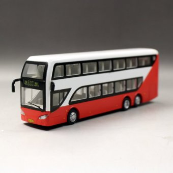 Harga Double decker bus car alloy simulation car double-decker bus bus bus toy car pull back car