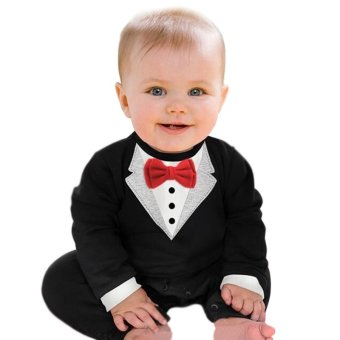 Harga Rorychen Infant Boys Semiformal Romper Long Sleeve Tuxedo With Bowtie(Black) (EXPORT)