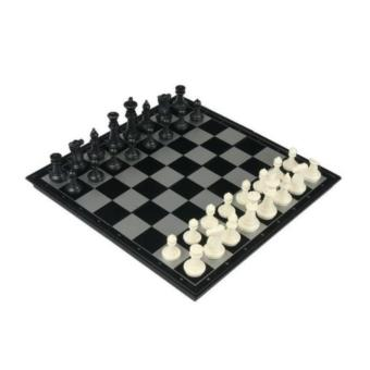 12.5inch Travel Folding Magnetic Chess Set(Black+White) Portable Set - intl