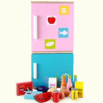 Harga Children's wooden puzzle Simulation Large refrigerator children's over every family honestly happy to see kitchen appliances toys gifts