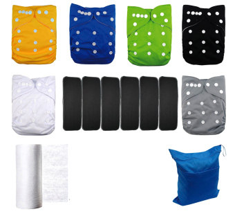 Harga Lilbit 6 pcs Solid Adjustable Baby Cloth Diapers / with 6 pcs Bamboo Charcoal Inserts (EXPORT)