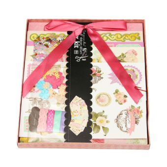 Harga New arrivals new born baby theme diy photo album set with scrapbooking paper and 3D stickers Gift kit - intl