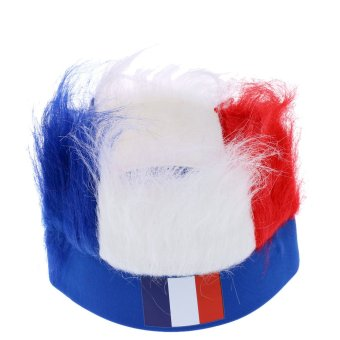 Harga ANSELF France Flag Football Soccer Fans Wig Head Cap European Cup FIFA World Cup Sports Carnival Festival Cosplay Costume - Intl