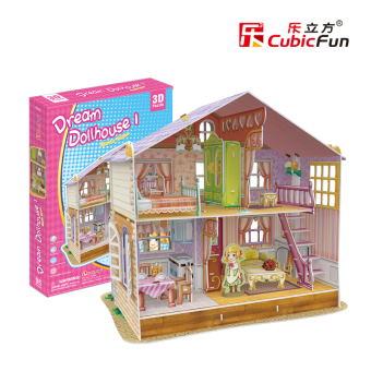 Harga Cubicfun 3D three-dimensional puzzle children's handmade production paper DIY hut assembled model girl educational toys