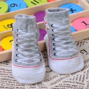 Cute Baby Infant Toddler Soft Sole Crib Shoes Shoes Socks(Grey)