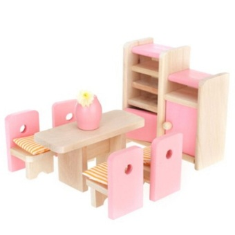 Harga Adorable Wooden Miniature Dollhouse Dinning Room Furniture Set Kids Toy