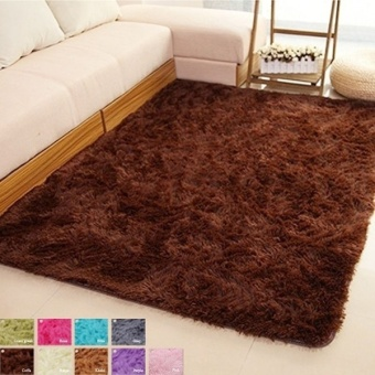Harga Fang Fang Best! Shaggy Carpet Area Rugs For Bedroom Living Room 60cm x 160cm - coffee - intl