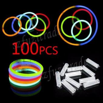 Harga 100pcs Mixed Color Glow Stick Flashing Light Bracelets Party Kid Glowstick - intl