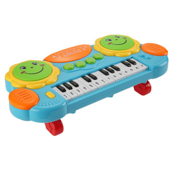 Harga Cyber Arshiner Baby Kids Educational Development Music Instrument Toy Battery Electronic Organ Keyboard Hand Beat Pat Drum Piano (Blue) - intl