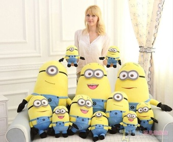 Harga 25cm/32cm/50cm 3D despicable me minion plush toy, minion stuffed doll plush doll toys 3D eyes, valentine's day gift - intl