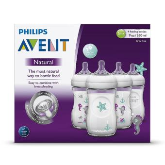 Harga Philips AVENT 4 Piece Natural Baby Bottle with Seahorse Design, 9 Ounce, (4 Pack)