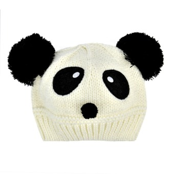 Cyber Cute Panda Pattern Baby Love Dual Ball Toddler Girls/Boys Wool Knit Sweater Cap Hat(White)