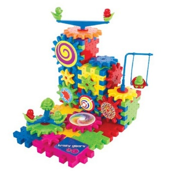 Harga Gear Building Toy Set - Interlocking Learning Blocks - Motorized Spinning Gears - 81 Piece Plastic Kids Puzzle Electric Building Blocks Bricks Toys