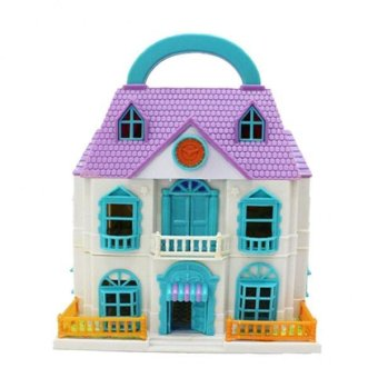 Harga BolehDeals Plastic Dollhouse 3 Layers Villa Portable Break up Kids Pretend Play Toys - intl