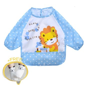 Harga Children Bibs Baby Waterproof Long-Sleeved Art Smock Bib Cartoon Apron Feeding Clothing - intl