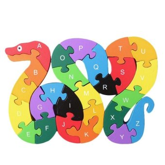 Harga Double Sides 26 Alphabet Letters and Numbers Wooden Jigsaw Puzzles Children Kids 3D Puzzle Educational Toys - intl