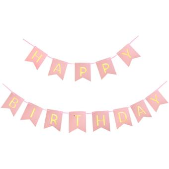 Harga 13pcs/bag Happy Birthday Paper Flag Hang Pennants Celebration happy Birthday Party faver Decor supplies -Pink(Pink) - intl