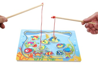 Harga children's magnetic fishing toy wooden cat double rod puzzle over every family baby 1-3-year-old