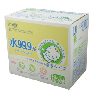Harga 99.9% Pure Water Wipes Thick 60 sheets x 15 packs
