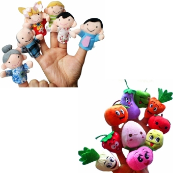 Harga 6 Pcs We Are Family Finger Puppets+10 Pcs Fruit Vegetable Finger Puppets