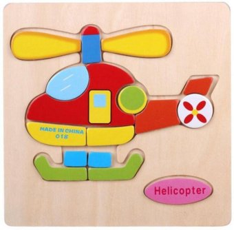 Harga MOON STORE Children puzzle Traffic Wooden Jigsaw Puzzle Toys Helicopter - intl