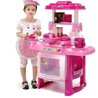 Harga Five Star Store Pro Pink Kids Kitchen Cooking Pretend Role Toy Play Set Lights Sound Electronic