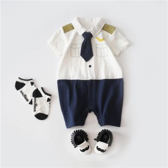 Baby Cute Clothes Summer Gentleman Romper For Boys Toddler Kids Captain Outerwear - intl