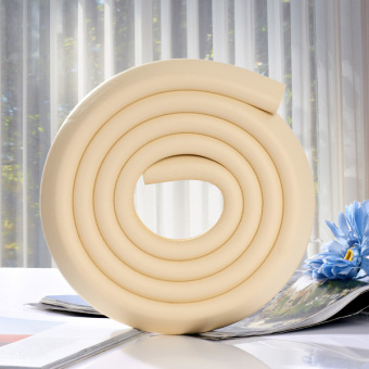 2M L-shaped Thicken Baby Safety Table Edge Corner Protector Guard Cushion Anti-collision Bumper Strip Beige