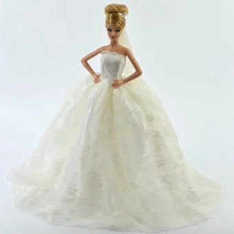 Harga White Gorgeous Bridal Gown with Veil for Barbie Doll - intl