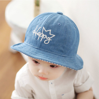 Harga Haotom Children Boys Sun Hats Spring Summer Caps Cotton Bucket Hat Baby Kids Boy Crown Cap New Fashion0-1-2year old Light blue (Intl)