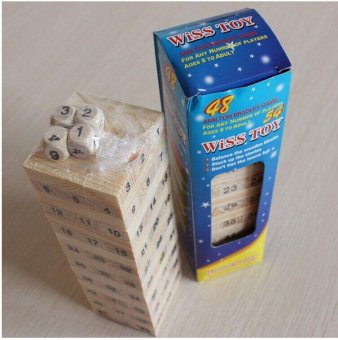 Kid Wooden Toy 54 Small Jenga Building Blocks Board Game - intl