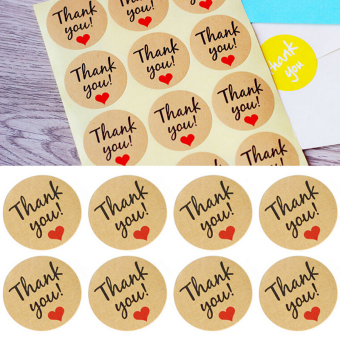 Harga 60Pcs Hand Made With Love Heart Sticker Kraft Paper Wedding Thank You Labels - intl